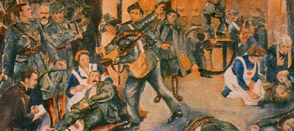Painting portraying the 1916 Rising in the GPO, including Pearse, Connolly and two nurses.