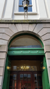 Entrance of the First Presbyterian Church, Rosemary St, Belfast Courtesy Dematerialise