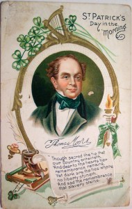 Card featuring a portrait of songwriter Thomas Moore. It reads: St Patricks Day in the Morning, and features lyrics from that song.