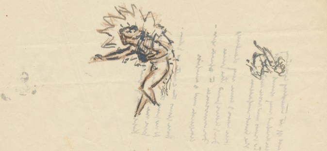 Page, with writing showing through from the other side, on which is sketched a female figure, bent and walking with one arm ut, surrounded by a halo of fire, and a smaller sketch of a seated girl.