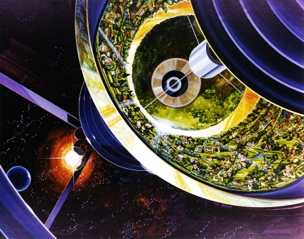 Cutaway view of Bernal Sphere. Art work: Rick Guidice, courtesy of NASA Ames Research Center