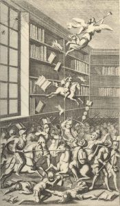 Illustration from Swift's Battle of the Books (1705), showing the ancient authors doing battle with the moderns, while a spider and a bee argue in a corner above the scene