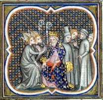 Louis the Pious seated crowned and on a throne receives an envoy of bishops (on his left) with his court behind him (right)