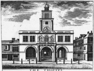 The Tholsel, a building in which the merchants of 18th century Dublin met.