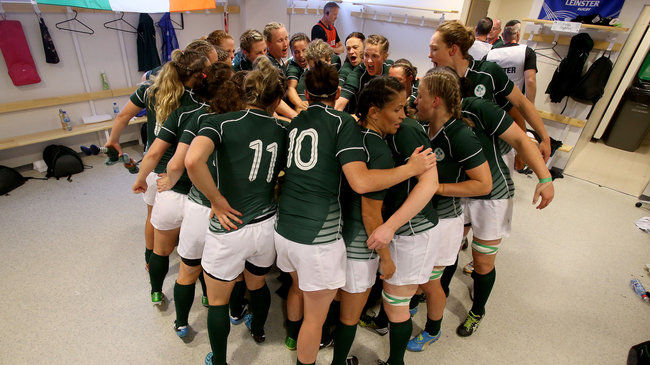 The Ireland Women's players huddle together before the World Cup semi-final