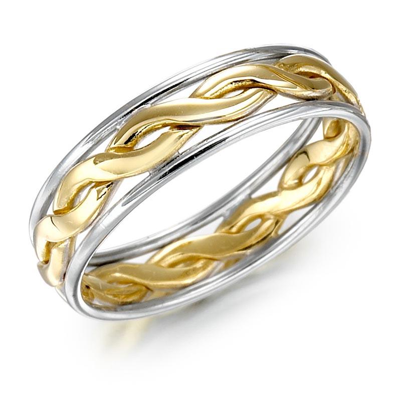 Irish Wedding Ring Ladies Gold Two Tone Celtic Knot
