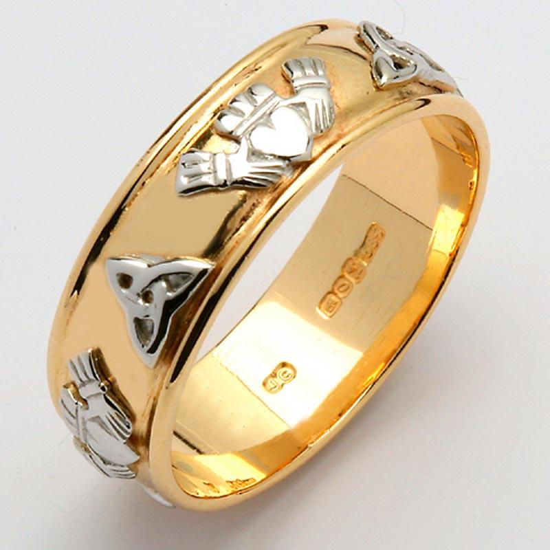 Irish Wedding Ring Mens Gold Two Tone Claddagh Trinity
