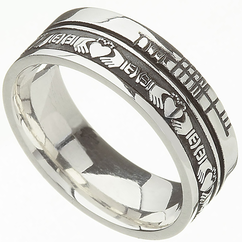 Irish Rings Comfort Fit Faith Claddagh Wedding Band At