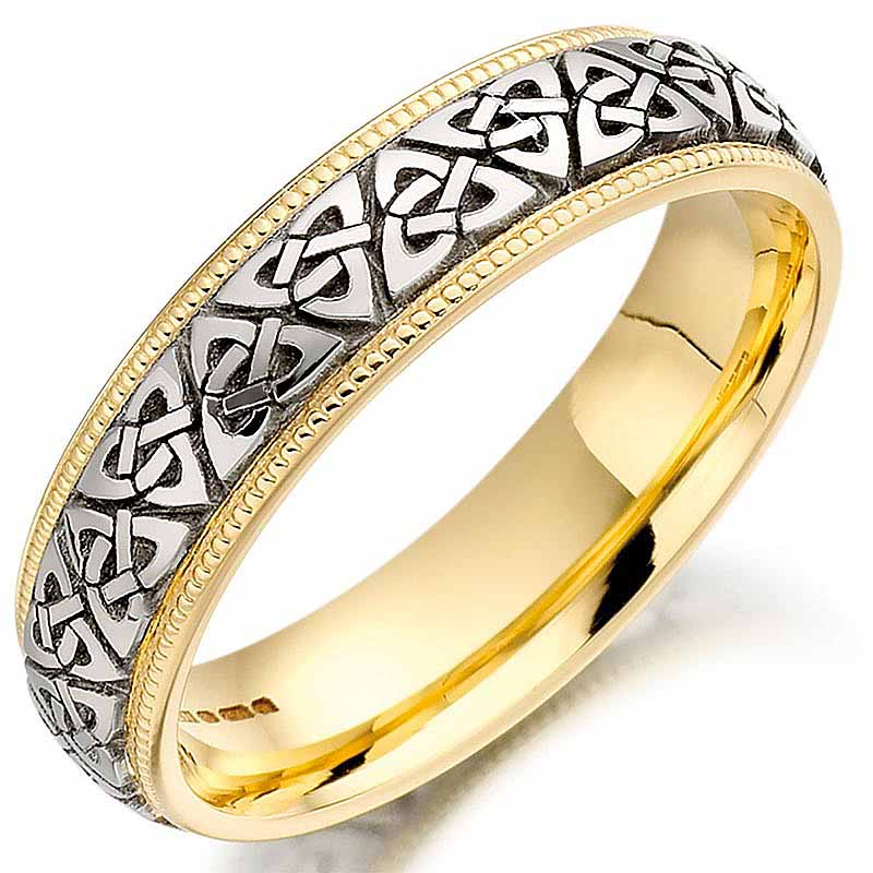 Trinity Knot Wedding Ring Mens Two Tone Trinity Celtic