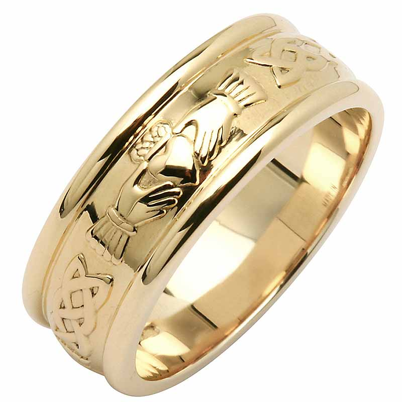 Irish Wedding Ring Mens Wide Corrib Claddagh Wedding