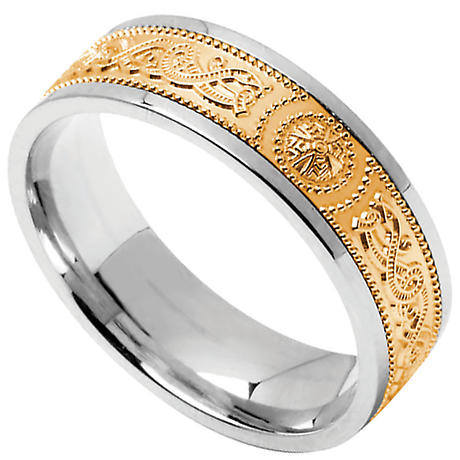 Celtic Ring Ladies Sterling Silver With 10k Yellow Gold