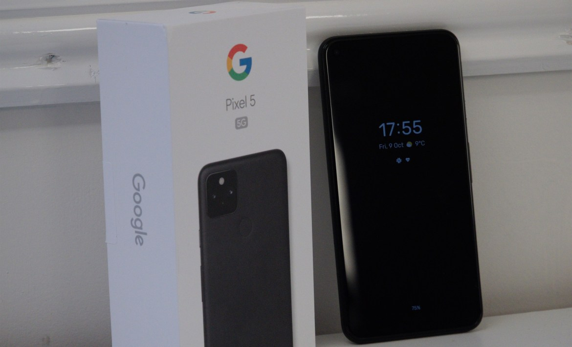 Google Pixel 5 beside its box