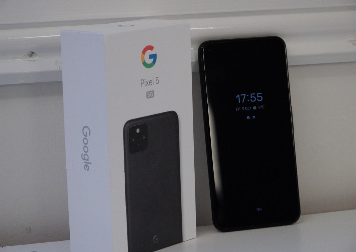 Google Pixel 5 beside its box