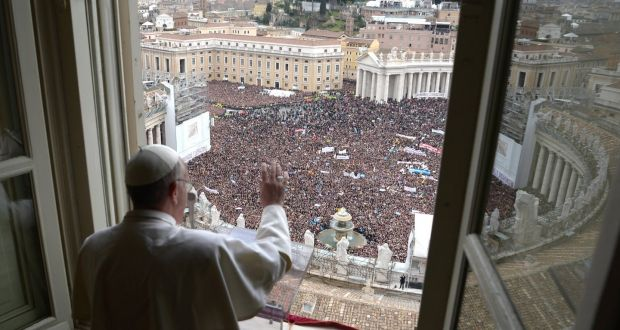 Newly Elected Pope Francis Ears At The Window Of His Future Private Apartment To Bless