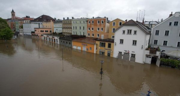 Parts of the old town in Passau, southern Germany, flooded by the river Danube. Heavy rainfall had caused flooding along rivers and lakes in Germany, Austria and the Czech Republic. Photograph: AP Photo/dpa, Armin Weigel