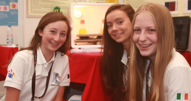 (From left) Ciara Judge, Sophie Healy-Thow and Emer Hickey, 2013 BT Young Scientist and Technology Exhibiton winners and now winners of a first prize at the European Union Contest for Young Scientists.