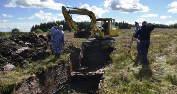 Searching for Columba McVeigh: the excavation site at Bragan Bog, Co  Monaghan, where he is believed to have been buried. Photograph: Brenda Fitzsimons