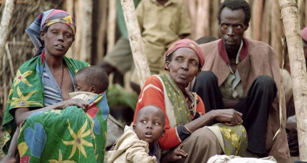 Tutsi refugees in Kabgayi in May 1994: RTLM radio told listeners not to take pity on women and children. Photograph: Alexander Joe/AFP/Getty Images