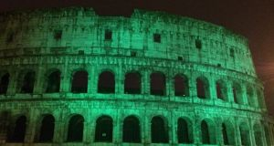 The Irish Embassy in Rome tweeted a picture of the Colosseum greened up for Paddy's Day<br />
