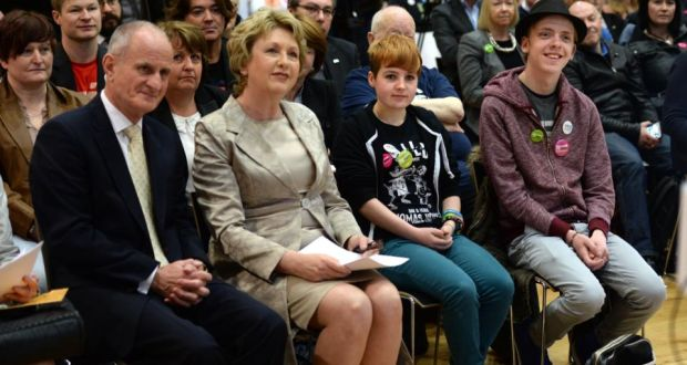 "'Slowly, but surely, we have been chipping away at what former President Mary McAleese succinctly describes as ""the architecture of homophobia"".'  Mary McAleese, who was speaking at a Belong To Yes event, with Dr Martin McAleese, Ciara Sheehan and Nathan Beatty, (right). Photograph: Dara Mac Dónaill / The Irish Times"