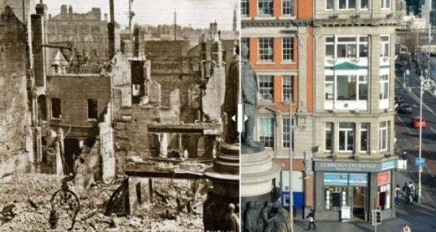 Then and now: Corner of Sackville Street and Eden Quay, Dublin