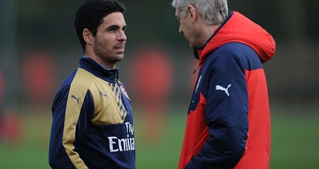 Arsène Wenger has said Mikel Arteta could take up a coaching role with Manchester City. Photograph: Getty