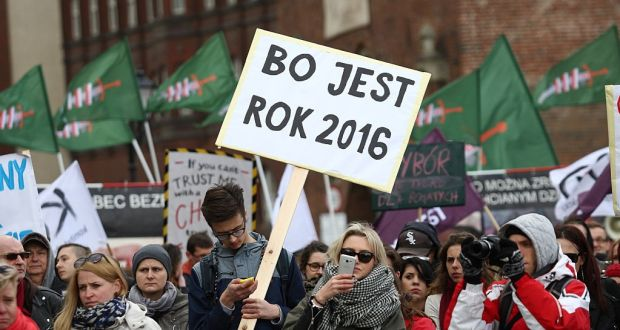 People protest in Gdansk against Polish government plans to tighten anti-abortion laws. Photograph: Michal Fludra/Gallo Images Poland/Getty Images