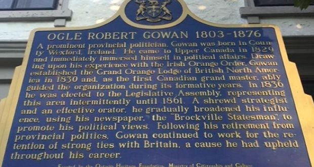 Founder of Grand Orange Lodge, Brockville, Ontario.