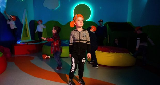 Ryan Cunningham (4) from Gaelscoil Donncha Rua, Shannon tries out Shannon Airport's new sensory room.  Photograph: Diarmuid Greene/True Media