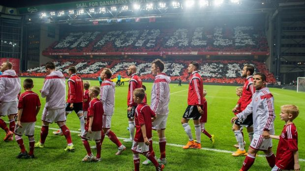 The Danish team at Parken National Stadium where they will take on the Irish team on November 11th
