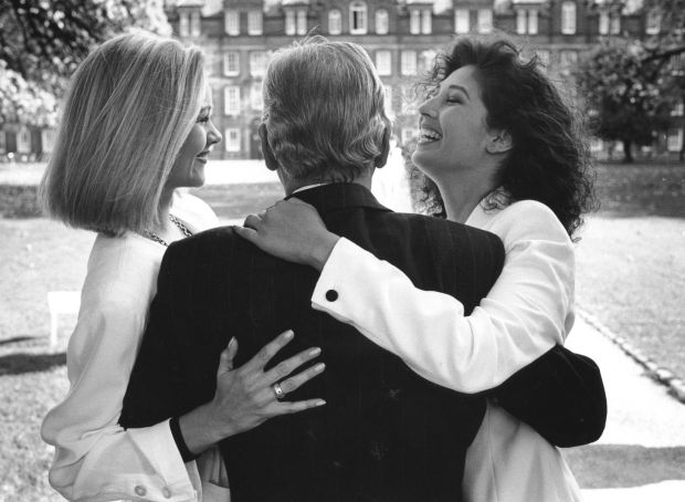 Models Laura Birmingham (left) and Sheila Eustace with Gay Byrne at a reception in Dublin to announce details of the 1991 Late Late Show fashion awards. Photograph: Matt Kavanagh/The Irish Times