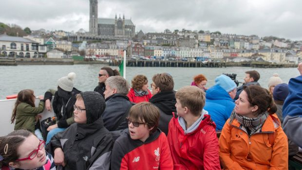 Visitors aboard the Spike Island Ferry from Cobh in Co Cork. Photograph: Michael Mac Sweeney/Provision