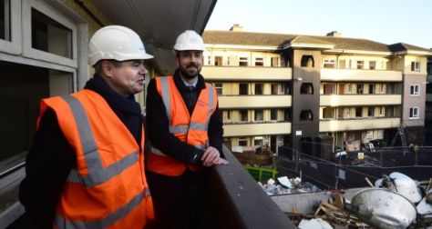 Minister for Finance Paschal Donohoe with Minister for Housing Eoghan Murphy at St Mary's flats complex in Dublin 1. File photograph: Cyril Byrne
