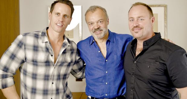 Graham Norton (C) with Tim Lightbourne and Rob Cameron
