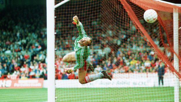 Bruce Grobbelaar won 13 major trophies as Liverpool's goalkeeper in 14 years. Photograph: Allsport/Inpho