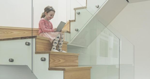 Houseworks A Hallway Makeover | Glass Staircase Panels Near Me | Modern Staircase Railing | Tempered Glass | Wood | Stair Balustrade | Stair Case