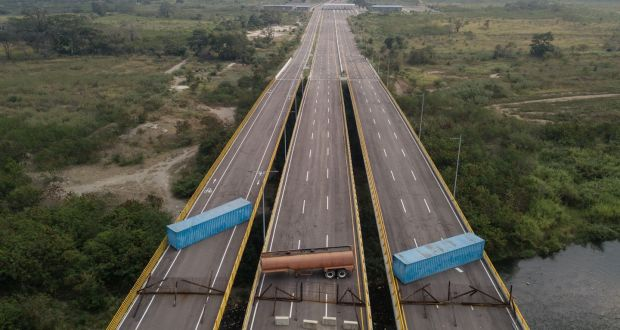 Image result for Venezuelan bridge food aid U.S.