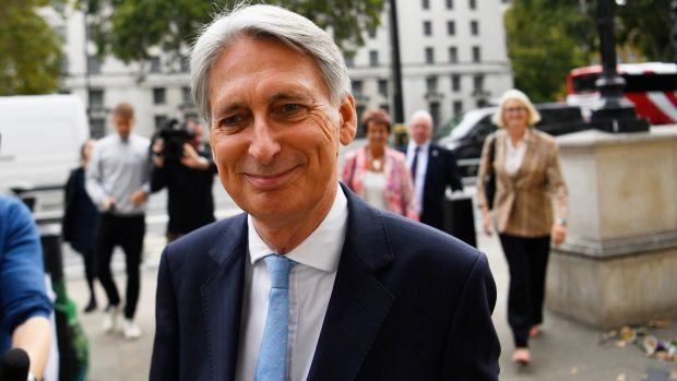 Conservative MP Phillip Hammond arrives at the cabinet office in London, on Tuesday. Photograph: EPA