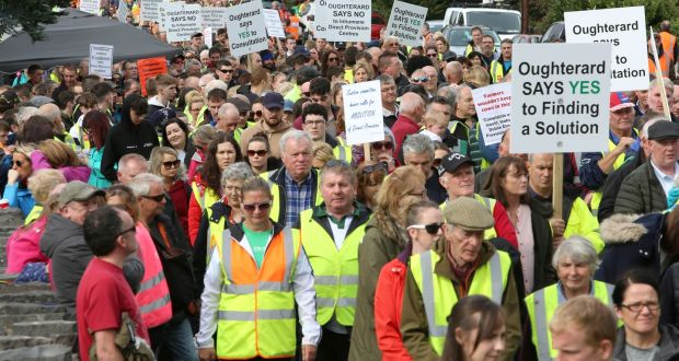The silent protest walk in Oughterard in September against a direct provision centre at the former Connemara Gateway Hotel. Photograph: Joe O'Shaughnessy