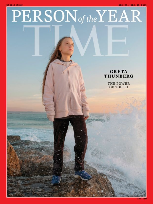 Time cover featuring Swedish teen activist Greta Thunberg who was named the magazine's Person of the Year for 2019. Photograph: Time/Reuters