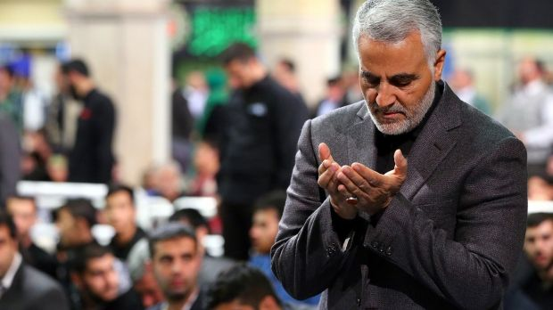 A handout photo made available by the Iranian Supreme Leader's office shows Iranian Revolutionary Guards Corps (IRGC) Lieutenant General and Commander of the Quds Force Qassim Suleimani praying during a religious ceremony in Tehran. Photograph: Iranian Supreme Leade's office Handout/EPA