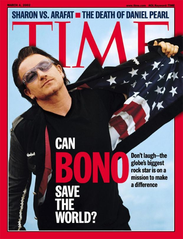 Can Bono Save The World? So asked Time magazine in March 2002. Photograph: AP Photo/TIME