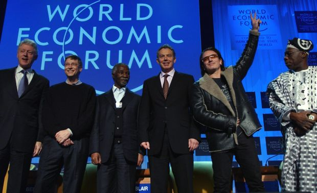 Davos man: perhaps the most counterintuitive fact is that Bono's wooing of politicians is the opposite of egotism. Photograph: Eric Feferberg/AFP via Getty