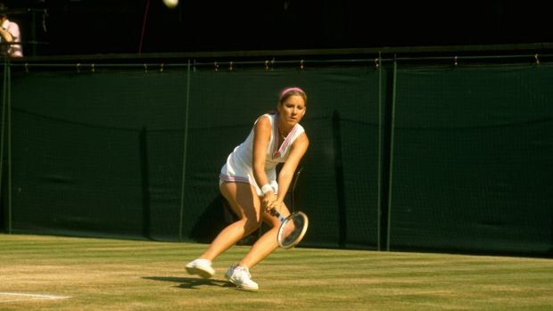 Chris Evert in action at Wimbledon in 1974 - the year she first won the singles tournament. Photograph: Getty