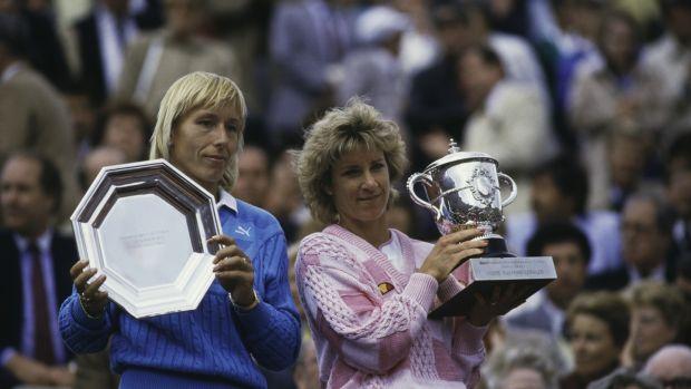 Chris Evert witrh Martina Navratilova after her seventh and final French Open women's singles victory. Photograph: Trevor Jones/Getty