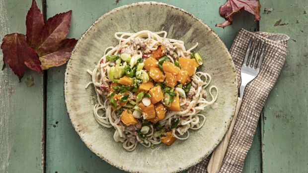 Butternut squash, sesame and coconut noodles. Photograph: Harry Weir Photography
