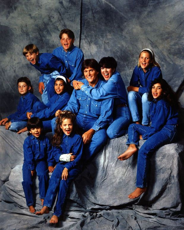 A photograph taken in Los Angeles in 1991: (Middle row, L-R): Brody Jenner, Kourtney Kardashian, Bruce Jenner, Kris Jenner, Cassandra Jenner, Kim Kardashian. (top row, L-R): Brandon Jenner, Burton Jenner. (bottom row, L-R): Robert Kardashian Jr and Khloe Kardashian. Photograph: Maureen Donaldson/Michael Ochs Archives/Getty Images