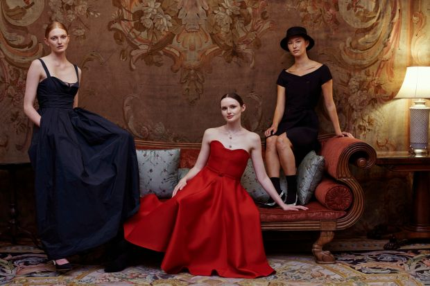 Dresses by Christian Dior: navy taffeta gown, red belted gown and wool mini-dress