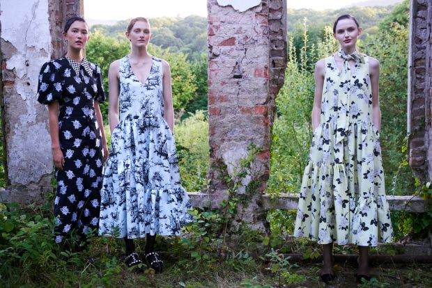 Dresses from Erdem: black and silver dress, drop-waisted printed dress and yellow floral dress