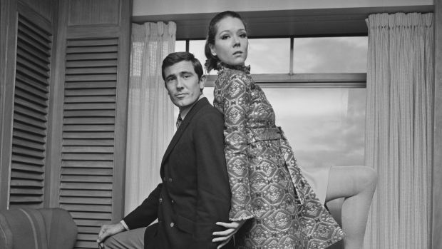 Diana Rigg with George Lazenby during a photoshoot for the James Bond movie On Her Majesty's Secret Service in 1968. Photograph: Norman Potter/Daily Express/Getty Images